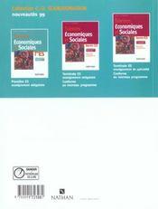 Sciences Economiques 1ere Es 1999 - 4ème de couverture - Format classique