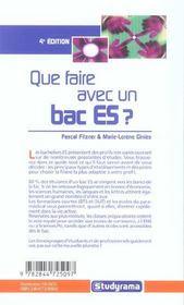 Que faire avec un bac es ? edition 2005 (édition 2005) - 4ème de couverture - Format classique