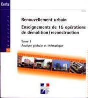 Renouvellement urbain : enseignements de 15 operations de demolition/reconstruction (en 2 tomes inse - Couverture - Format classique