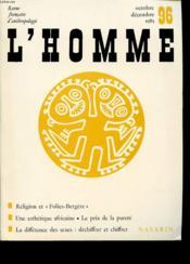 REVUE FRANCAISE D ANTROPOLOGIE : L HOMME n 96 - Couverture - Format classique