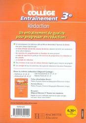 Objectif College ; Entraînement Rédaction ; 3ème - 4ème de couverture - Format classique