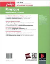 Physique ; méthodes et exercices ; PSI - 4ème de couverture - Format classique