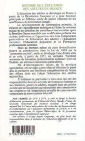 Histoire De L'Education Des Adultes En France - 4ème de couverture - Format classique