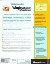 Kit De Formation Microsoft Windows 2000 Professionnel - 4ème de couverture - Format classique