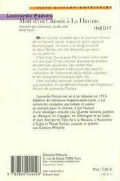 Mort d'un chinois à la Havane - 4ème de couverture - Format classique