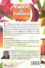 Vaincre le cholestérol - 4ème de couverture - Format classique