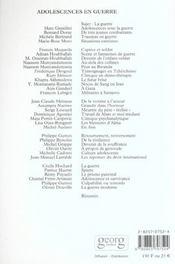 Revue Adolescence N.18 ; Adolescents En Guerre - 4ème de couverture - Format classique