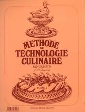 Methode de technologie culinaire t.2 ; livre du professeur - 4ème de couverture - Format classique