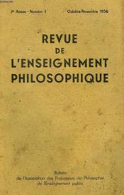 REVUE DE L'ENSEIGNEMENT PHILOSOPHIQUE, 7e ANNEE, N° 1, OCT.-NOV. 1956 - Couverture - Format classique
