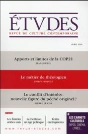 Revue études N.4226 ; avril 2016 - Couverture - Format classique
