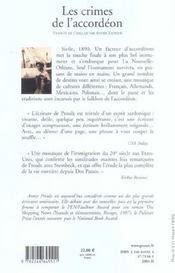 Les crimes de l'accordeon - 4ème de couverture - Format classique