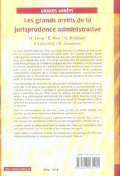 Les Grands Arrets De La Jurisprudence Administrative - 4ème de couverture - Format classique