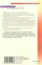 La turquoise de vie ; un pélerinage tibétain - 4ème de couverture - Format classique