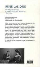 René lalique ; correspondance d'un bijoutier art nouveau, 1890-1908 - 4ème de couverture - Format classique