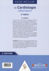 Vade mecum de cardiologie vétérinaire ; 2e édition - 4ème de couverture - Format classique