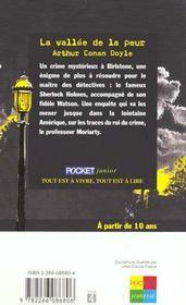 La vallée de la peur ; une enquête de Sherlock Holmes - 4ème de couverture - Format classique