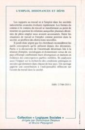 Emploi : Dissonances Et Defis . Sociologues Et Econ - 4ème de couverture - Format classique