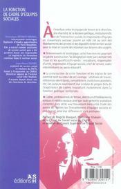 La fonction de cadre d'equipes sociales comprendre, agir, evoluer - 4ème de couverture - Format classique