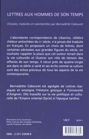 Lettres aux hommes de son temps - 4ème de couverture - Format classique