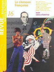 REVUE BNF T.16 ; la chanson française - Intérieur - Format classique