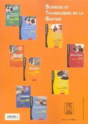 Dossiers Droit Terminale Stg - 4ème de couverture - Format classique