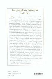 Procedures Et Pratiques Electorales En France ; De La Fin De L'Ancien Regime A La Veille De La Premiere Guerre Mondiale - 4ème de couverture - Format classique