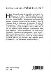Connaissez-vous l'abbe bremond ? - 4ème de couverture - Format classique