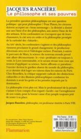 Le philosophe et ses pauvres - 4ème de couverture - Format classique