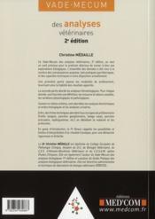 Vade-mecum des analyses vétérinaires (2e édition) - 4ème de couverture - Format classique