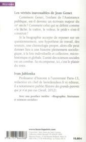 Les vérités inavouables de Jean Genet - 4ème de couverture - Format classique