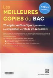 Les meilleures copies du bac histoire-geo 25 copies authentiques pour reussir la composition et l - 4ème de couverture - Format classique