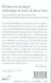 Poèmes en archipel ; anthologie de textes - 4ème de couverture - Format classique