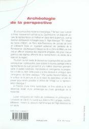 Archéologie de la perspective sur Piero della Francesca, Vinci et Dürer - 4ème de couverture - Format classique