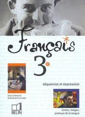 Français 3e ; livre de l'élève ; édition 2003 - Intérieur - Format classique