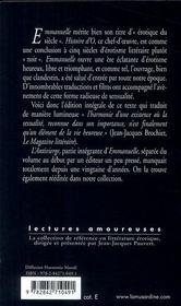 Emmanuelle t.1 ; la leçon d'homme - 4ème de couverture - Format classique