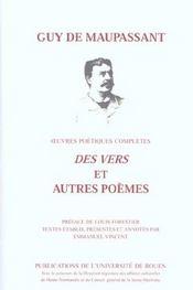 Uvres poetiques completes. <i>des vers </i>et autres poemes - Intérieur - Format classique
