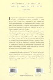 L'Avenement De La Medecine Clinique Moderne En Europe, 1750-1815. Pol Itiques, Institutions Et Savoi - 4ème de couverture - Format classique