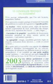 Le Conseiller Pratique Du Logement ; Edition 2003 - 4ème de couverture - Format classique