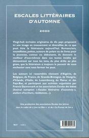 Escales litteraires d'automne - 4ème de couverture - Format classique