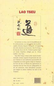 Lao Tseu ; Cinquante Et Une Perles De Sagesse - 4ème de couverture - Format classique