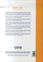 Sécurité incendie, mise en sécurité ; habitation, ERP, bureaux, industrie, IGH... - 4ème de couverture - Format classique