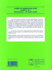 CAPEPS et agrégation d'EPS ; dissertations, 20 sujets traités - 4ème de couverture - Format classique