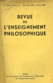 REVUE DE L'ENSEIGNEMENT PHILOSOPHIQUE, 7e ANNEE, N° 2, DEC.-JAN. 1956-57 - Couverture - Format classique