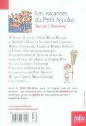 Le Petit Nicolas ; les vacances du petit Nicolas - 4ème de couverture - Format classique