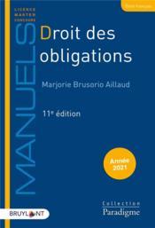 Droit des obligations (édition 2021) - Couverture - Format classique