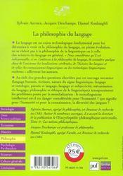 La philosophie du langage - 4ème de couverture - Format classique