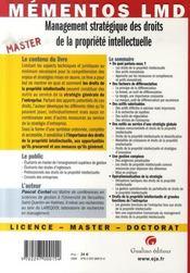 Management stratégique des droits de la propriété intellectuelle - 4ème de couverture - Format classique