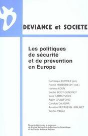 Les Politiques De Securite Et Prevention - Intérieur - Format classique
