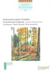 Biodiversite et gestion forestiere. connaitre pour preserveravec cd-rom. no 20 - Couverture - Format classique