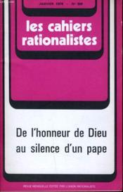 Les Cahiers Rationalistes N°306 - De L'Honneur De Dieu Au Silence D'Un Pape - Couverture - Format classique